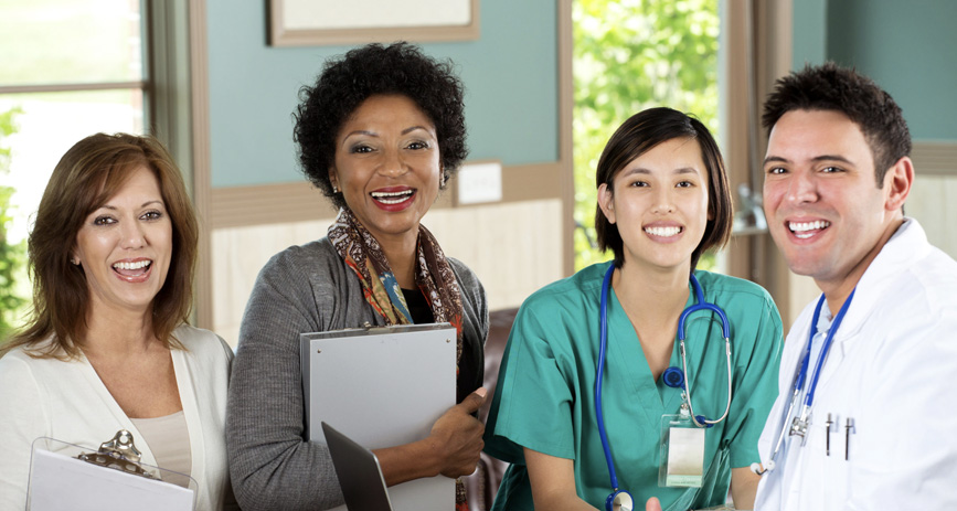 health care providers smiling